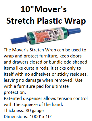 10 inch Movers Stretch Plastic Wrap