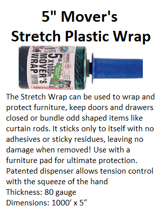 5 inch Movers Stretch Plastic Wrap