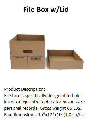 File Box w Lid, Records storage