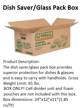 Dish Saver glass packing box